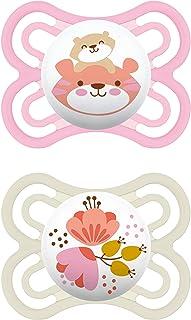 MAM Perfect Schnuller im 2er-Set, für eine gesunde Zahn- und Kieferentwicklung, Baby Schnuller aus speziellem MAM SkinSoft Silikon mit Schnullerbox, 0 - 6 Monate, Tiger/Blume