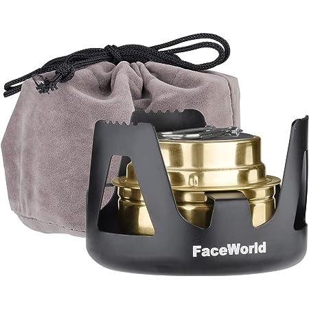 Faceworldアルコールストーブバーナー ごとく小型 コンパクト 携帯便利 軽量 アウトドア キャンプ 防災 登山 五徳付き 風防 燃料用アルコール