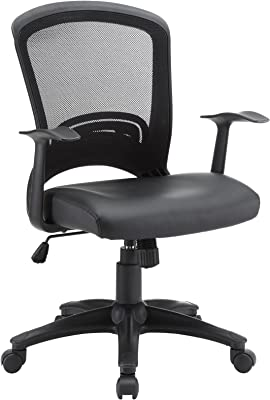 Modway Pulse Ergonomic Faux Leather Adjustable Swivel Office Chair in Black