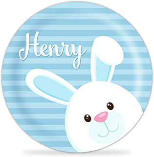 Kids Easter Plate - Blue Easter Bunny Melamine Personalized Plate