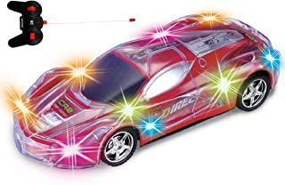 Haktoys Light Up Racing Red 1:24 Scale RC Sports Car with Spectacular Flashing LED Lights | Radio Control Vehicle with Flexible Antenna | Safe and Durable | Gift, Toy for Kids, Boys and Girls