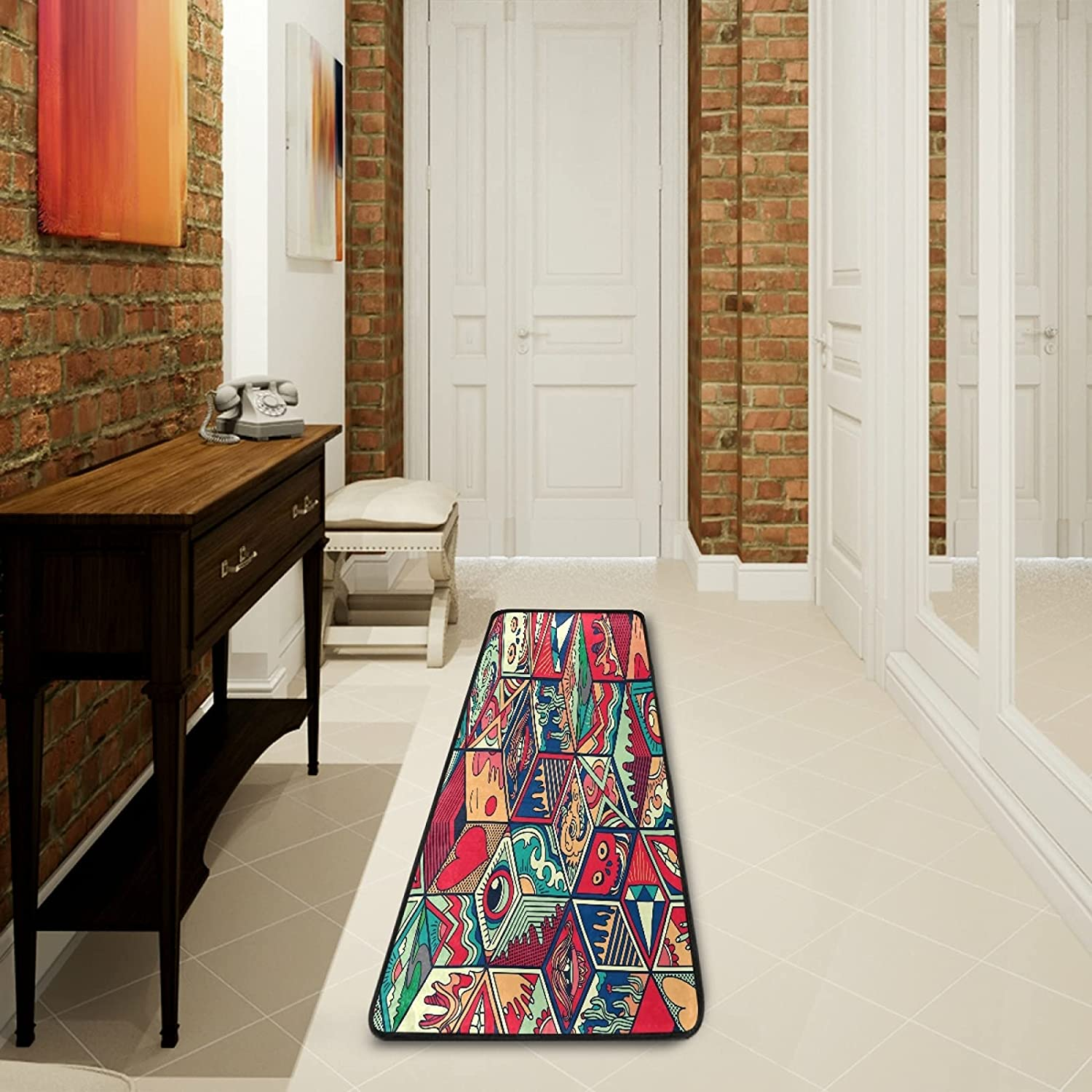 Abstract Special price Ornate Runner Tucson Mall Rug Kitchen Non Doormat Area Rugs Slip Ru