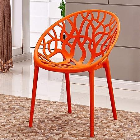 Set of 4 - Bird's Nest Style Durable Modern Restaurant Garden Patio Dining Chair Stackable (Orange)