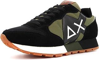 SUN68 Sneaker Running Jaki Solid Bicolor in Pelle Scamosciata Nero/Tessuto Verde Army U21SU01