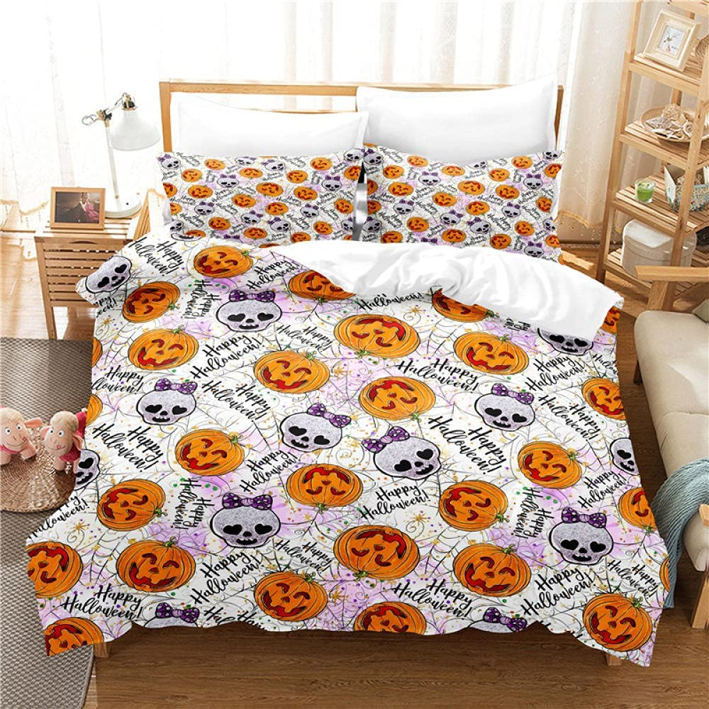 Duvet Cover Full Size White Zipper Comforter Direct stock discount with Mail order cheap Pumpkin