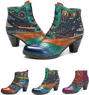 1bdf73b8b254f6 Socofy Bottes Cuir Femmes, Chaussures de Ville à Talons Hauts Moyens  Confortable Bottines Boots Santiags