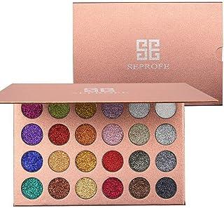 Paleta de sombras de ojos metalizadas con purpurina, 24 colores, prensadas, altamente pigmentadas, brillantes, resistentes al agua, larga duración
