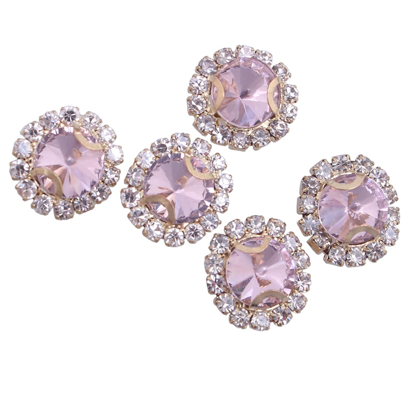 ZIJING 14pcs Gold Setting Pink Color Round Circle Facets Beads Czech Crystal Rhinestones Elements With 4 Holes for Sew On (Pink Color--14pcs)