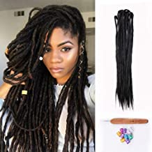 Dsoar Double Ended Dreadlocks Extensions Handmade Synthetic Dreads 20 Inch 10 Strands/Pack Crochet Braiding Hair (40 inch, 1#/Black Color)