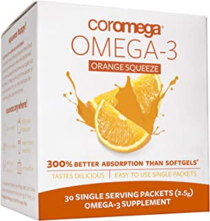 Coromega Omega 3 Fish Oil Supplement, 650mg of Omega-3s with 3X Better Absorption Than Softgels, Orange Flavor, 30 Single ...