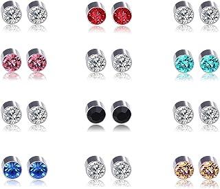 Multi Color Cubic Zirconia Stainless Steel Magnetic Stud Earrings 2-12 Pairs