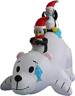 6 Foot Long Christmas Inflatable Penguins Fishing on Polar Bear Decoration
