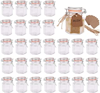 Small Glass Jars,Encheng Glass Jars With Airtight Lids 4 oz,Hexagon Jars With Leak Proof Rubber Gasket,Small Mason Jars Wi...