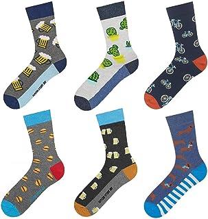 Calcetines de Color para Hombre | Talla 40-45 | Multipack | Calcetines Algodón Largos con Dibujos Graciosos | Perfectos para Zapatos y Botas