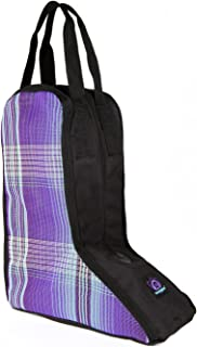 Kensington All Around Western Boot Bag — Nylon Inside Divider to Keep Boots Separate — Nylon Lining with Textilene Sides for Breathability, Lavender Mint Plaid