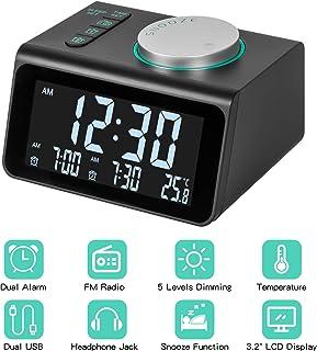 Radio Reloj Despertador, FM Reloj de Radio Digital Reloj de Cabecera con Puerto de Carga USB Doble, Pantalla de Temperatura, 5 Ajustable Brillo sin Tictac Reloj para Dormitorio,Oficina y Viaje