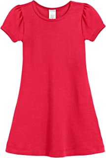 City Threads Girls Cotton Short Sleeve Baby Rib A-Line Puff Sleeve Dress, Made in USA