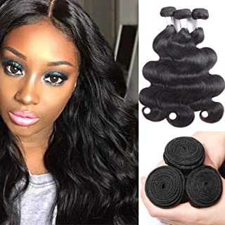 Doris Beauty 8A Brazilian Hair Bundles Body Wave 8 10 12inch Brazilian Body Wave Virgin Human Hair Natural Black 100% Unprocessed Human Hair Extensions(8 10 12 inch)