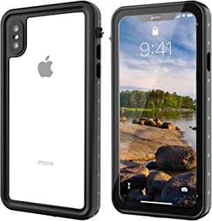 Gnais iPhone X/XS Waterproof Case, Shockproof Dirtproof Snowproof IP68 Certified Waterproof Clear Case with Built-in Screen Protector Full-Body Rugged Cover for iPhone X/XS 5.8 inch(Black/Clear)