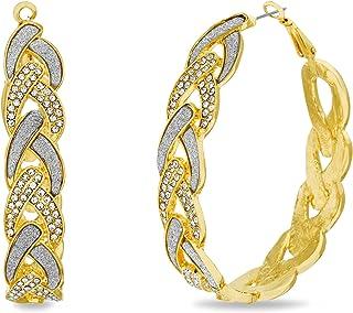 Steve Madden Rhinestone Glitter Yellow Braided Hoop Earrings for Women