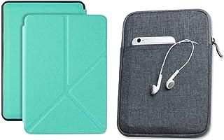 Capa Kindle 10ª geração com iluminação embutida Verde Menta Origami - Função Liga/Desliga - Fechamento magnético + Bolsa S...