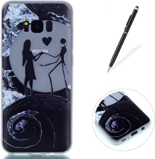 Compatible for Galaxy S8 Plus Silicone Gel Case [Free Black Touch Stylus],KaseHom Luminous Effect Green Glow in The Dark Clear Soft Ultra Slim TPU Protective Case Cover,Nightmare Before Christmas …