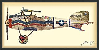 Empire Art Direct Antique Biplane #3 Airplane Dimensional Collage Handmade by Alex Zeng Framed Graphic Aircraft Wall Art, 25