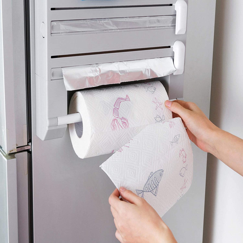 Phoetya D/érouleur mural 6 en 1 en plastique pour rouleau de papier et papier de cuisine Blanc