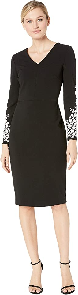 V-Neck Sheath with Long Sleeve Caviar Beading Detail Sleeve