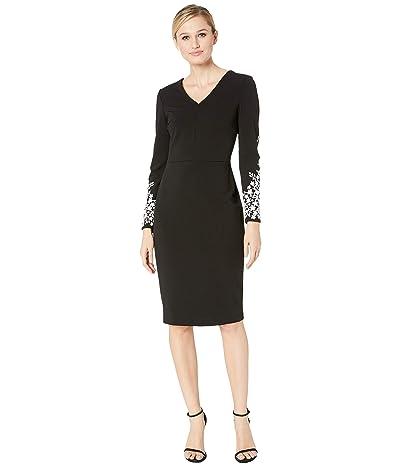 Calvin Klein V-Neck Sheath with Long Sleeve Caviar Beading Detail Sleeve (Black/Cream) Women