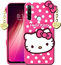 Xester Hello Kitty Case Compatible with Redmi Note Note 8| 3D Cute Printed | Soft Silicone Rubber Back Cover with Pendant Compatible for Redmi Note Note 8 (Pink)