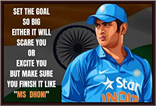 """The Artist Indian Cricketer Captain Cool MS Dhoni """"Thala"""" HD Print Wall Art with Motivational Quote Framed Without Glass P..."""