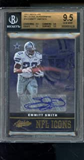 2012 Panini Absolute NFL Icons #14 Emmitt Smith 25/25 Signed AUTO Autograph Autographed GEM MINT BGS 9.5 Graded NFL Football Card