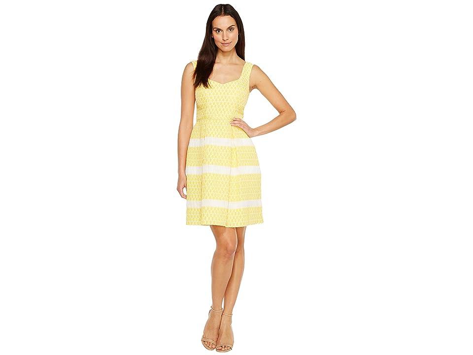 Adrianna Papell Lemon Drop Jacquard Fit and Flare Sleeveless Dress (Yellow/Ivory) Women