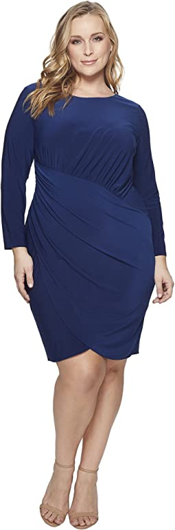 Adrianna Papell - Plus Size Matte Jersey Dress with Long Sleeve and Draped Wrap Skirt
