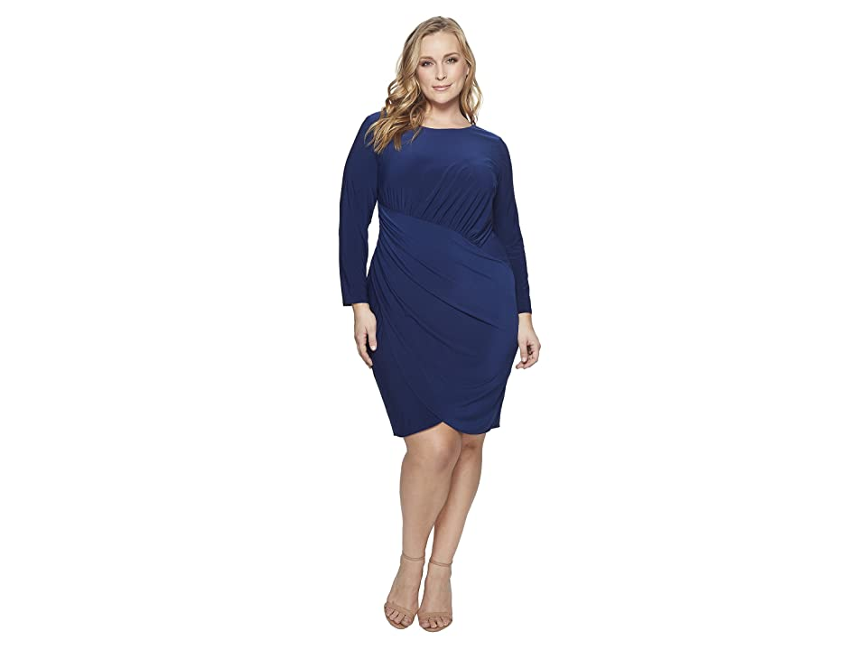 Adrianna Papell Plus Size Matte Jersey Dress with Long Sleeve and Draped Wrap Skirt (Navy Sateen) Women