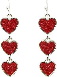 Multi Red Interlocking Heart Dangle Earrings For Women Girls Alloy Silver