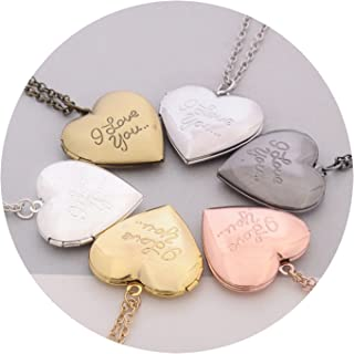 Adisaer Gold Plated Locket Necklace for Womens Antique Locket Necklaces Heart