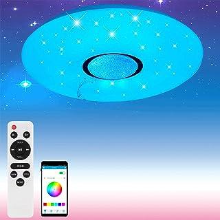 Blingbin Lampara LED Bluetooth Techo, Lampara Bluetooth Altavoz Techo, RGB Colorido, Control de Aplicación de Soporte/Control Remoto, (bluetooth + WIFI) [Clase Energética a ++]