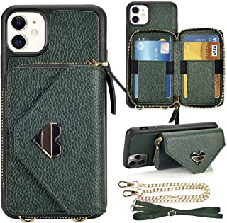 JLFCH iPhone 11 Wallet Case iPhone 11 Crossbody Case with Wrist Strap Chain Zipper Closure Credit Card ID Holder Women Handbag Girl Purse Protective for Apple iPhone 11 6.1 inch - Midnight Green