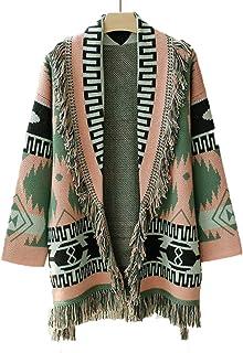 NDLENG Suéter de Cachemira con borlas de Jacquard Bohemio Abrigo de Lana para Mujer Moda Otoño Invierno suéter Chaqueta de...