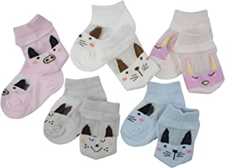 SYEEGCS - Calcetines para niños y niñas (5 pares, algodón transpirable, transparentes, lana de vidrio - Niña S