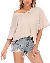 XYJD Lente en zomer vrouwen casual trui V-hals effen kleur losse wafel gebreide korte mouwen T-shirt top vrouwen