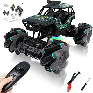 HM Remote Control Car, Off Road RC Stunt Cars Toys for Kids Teens, Durable Fast Racing Monster RC Truck with LED, 4WD 360°...