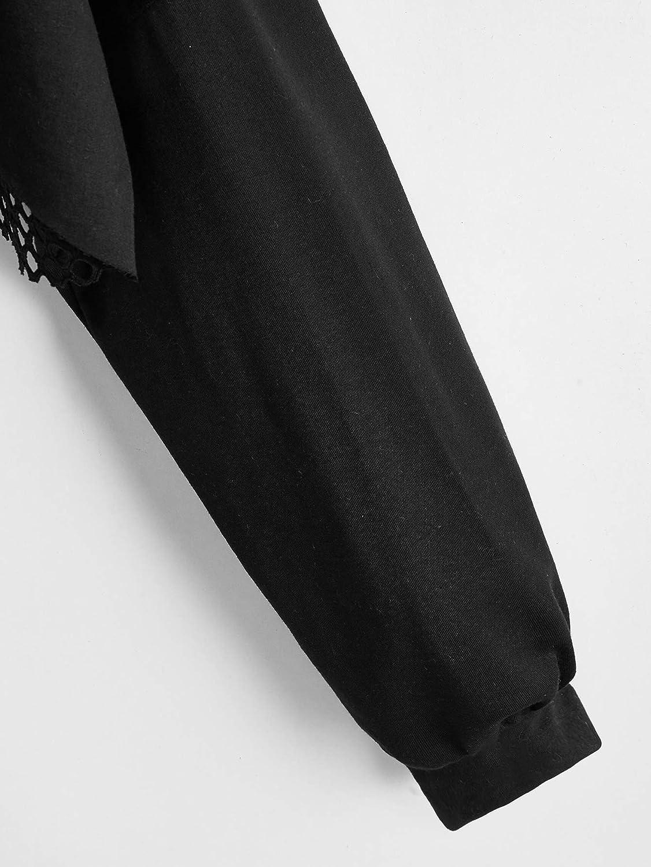 SweatyRocks Women's Casual Solid Cut Out Front Long Sleeve Pullover Crop Top Sweatshirt
