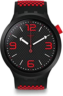 Swatch SO27B102 Silicone Dotted Band Black-Dial Round Analog Unisex Watch - Black & Red