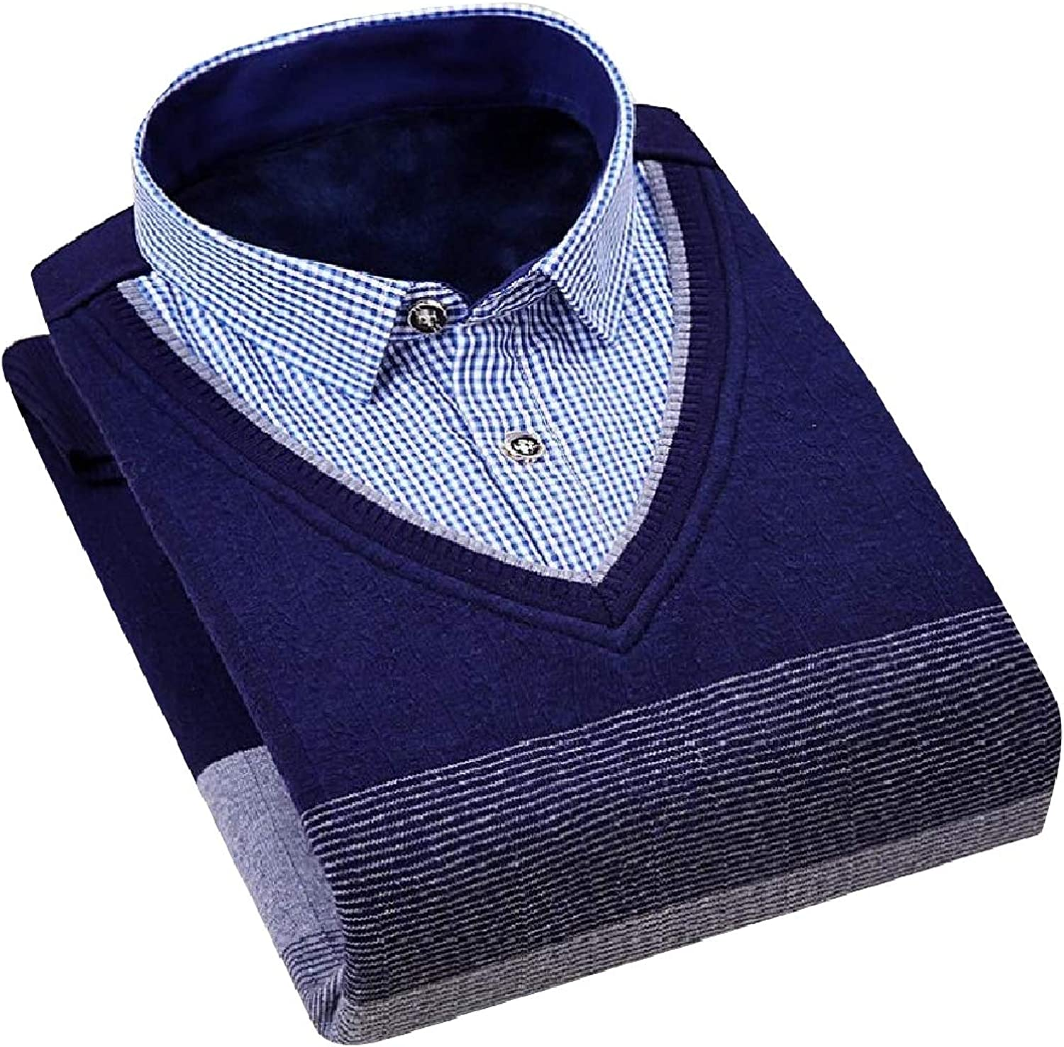 Coolhere Men Premium Essential Knit Polo-Collar Fake Two Piece Sweater
