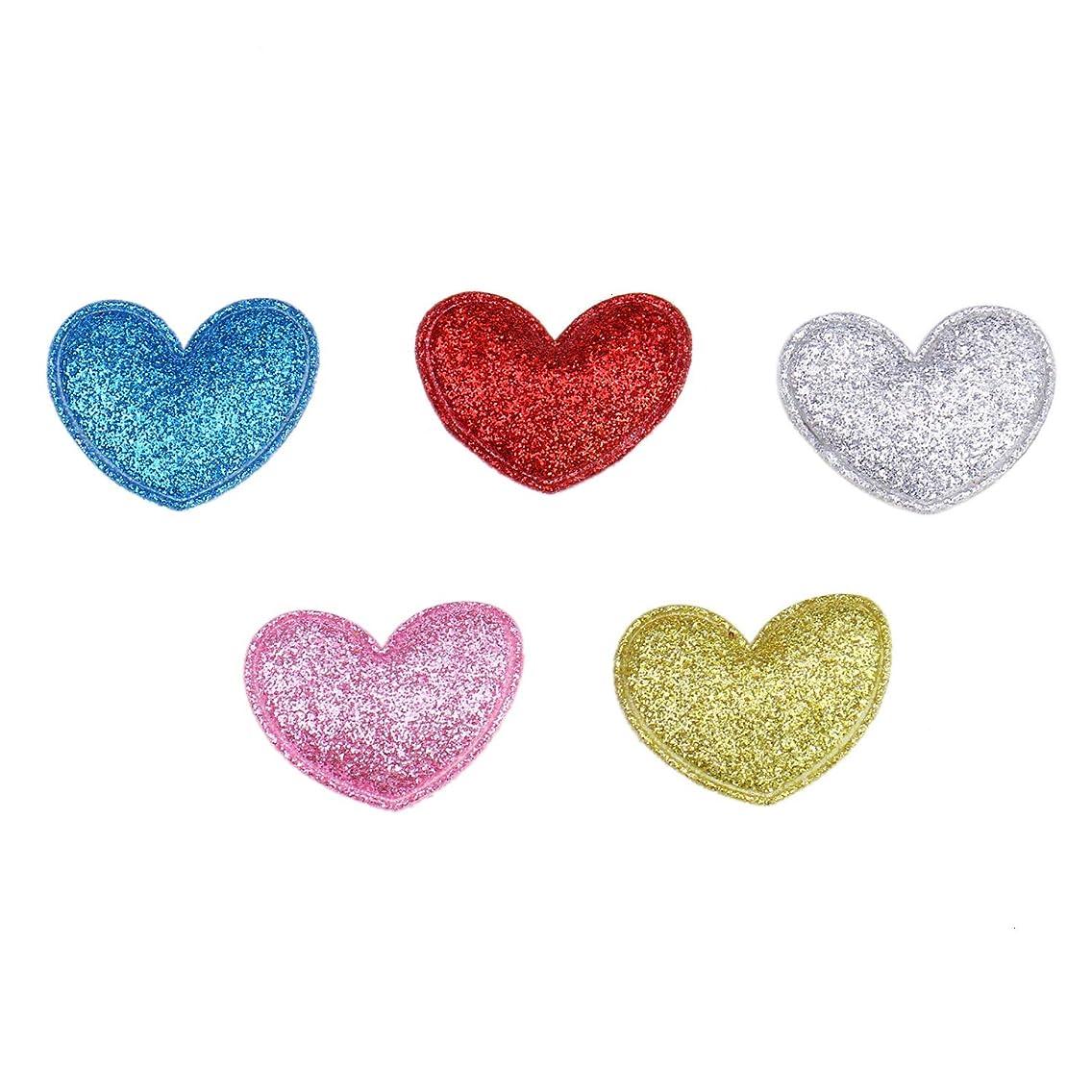Monrocco 100Pcs Glitter Heart Appliques Patches, Heart Patches Iron On Heart Appliques for Clothes Jackets Hats - 5 Colors