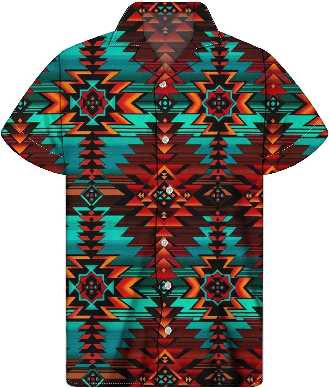 JoyLamoria Men's Printed Hawaiian Shirt Casual Button Down Collared Tops Dress Shirt for Beach Party Aloha