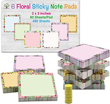 Sticky Notes Floral Note Pads Cute Sticky Notes Notepads Memo Pads 3 x 3 inch 80 Sheets/Pad 6 Pads with 6 Magnet Pins